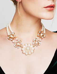 Femme Collier de puissance Colliers Déclaration Perle Forme de Fleur Perle Bijoux Fantaisie bijoux de fantaisie Vintage Mode Bijoux Pour