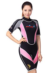 Dive&Sail בגדי ריקוד נשים 3mm חליפה רטובה קצרה שמור על חום הגוף ייבוש מהיר עיצוב אנטומי נושם קרם הגנה ניאופרן חליפת צלילה שרוולים קצרים