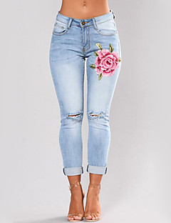 Women's High Waist strenchy Skinny Jeans Pants,Street chic Slim Cut Out Embroidery