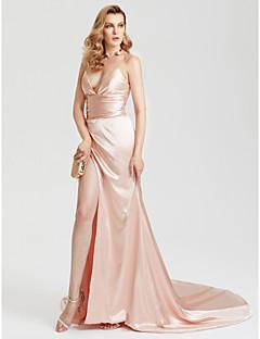 מעטפת \ עמוד שובל קורט סאטן ערב רישמי שמלה עם שסע קדמי סלסולים על ידי TS Couture®
