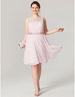 A-Line Jewel Neck Knee Length Chiffon Lace Cocktail Party Homecoming Dress with Beading Crystal Detailing Sash / Ribbon by TS Couture®