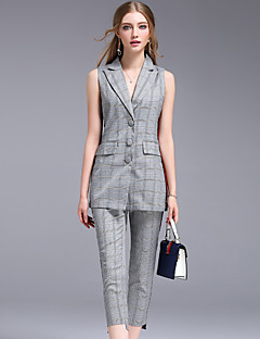 Damen Grid /-Plaid-Muster Einfach Arbeit Muskelshirt Hose Anzüge,Hemdkragen Sommer Ärmellos Patchwork Unelastisch