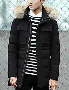 コート ロング ダウン メンズ,カジュアル/普段着 ソリッド その他 ホワイトダックダウン-シンプル 長袖