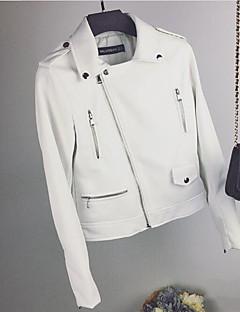 レディース 日常 春 レザージャケット,現代風 シャツカラー ソリッド ショート その他 長袖