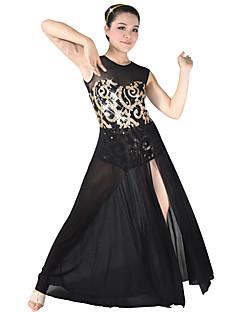 Danse latine Robes Femme Enfant Spectacle Elasthanne Paillété 2 Pièces Sans manche Taille moyenne Robe Coiffures