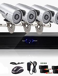 Kit di videocamere di sorveglianza CCTV e DVR, 4CH (per esterni, resistente all'acqua, 600 TVLine, a colori)