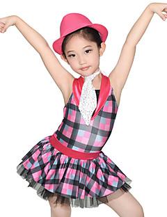 Roupas de Dança para Crianças Vestidos Mulheres Crianças Actuação Elastano Lantejoulas Tule Licra Plissado Camadas 4 Peças Sem Mangas