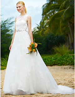 LAN TING BRIDE A-line Wedding Dress Beautiful Back Sweep / Brush Train Jewel Lace Tulle with Beading Draped Lace