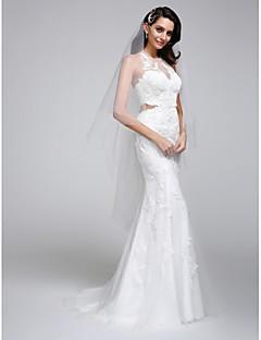 マーメイド/トランペット・ホルター・トレイン・チュール・ウェディング・ドレス(appliques with lan tingbride®)