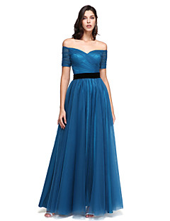 A-Line Off-the-shoulder Floor Length Tulle Prom Formal Evening Dress with Sash / Ribbon Criss Cross Ruching by TS Couture®