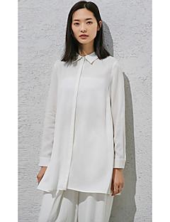 Kadın Splandeks Uzun Kollu Gömlek Yaka Solid Sade Günlük-Kadın Gömlek