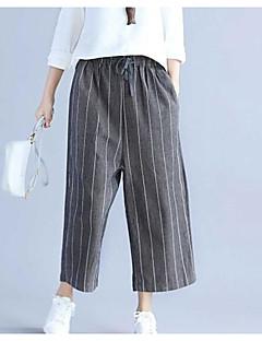Feminino Simples Cintura Média Micro-Elástica Perna larga Calças,Largo Listrado Estampa Colorida