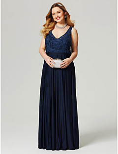 Sheath / Column V-neck Floor Length Lace Jersey Formal Evening Dress with Beading Appliques Sash / Ribbon by TS Couture®