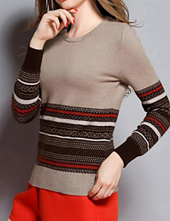 Women's Casual/Daily Simple Regular Pullover,Striped Round Neck Long Sleeve Others Fall Medium Micro-elastic