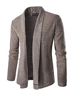 Normal Cardigan Fritid/hverdag Herre,Ensfarget Skjortekrage Langermet Polyester Vinter Medium Mikroelastisk