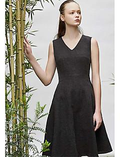 Kadın Günlük/Sade A Şekilli Elbise Solid,Kolsuz Yuvarlak Yaka Midi Diz-boyu Pamuklu Yaz Normal Bel Mikro-Esnek İnce