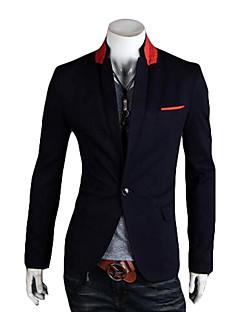 Erkek Organik Pamuk Uzun Kol V Yaka İlkbahar/Kış Çizgili Sokak Şıklığı Günlük/Sade Kısa-Erkek Blazer