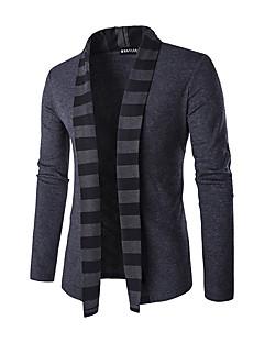 Normal Cardigan Fritid/hverdag Herre,Stripet Skjortekrage Langermet Polyester Vinter Medium Mikroelastisk