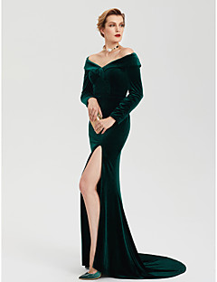 Sheath / Column Off Shoulder Sweep / Brush Train Velvet Formal Evening Dress with Split by TS Couture®