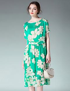 Kadın Dışarı Çıkma Boho Salaş Şifon Elbise Çiçekli Zıt Renkli,Kısa Kollu Yuvarlak Yaka Midi Modal Şifon Yaz Yüksek Bel Mikro-Esnek İnce