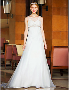 LAN TING BRIDE A-line Wedding Dress - Classic & Timeless Open Back Court Train Scoop Organza with Appliques Beading Button