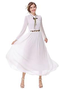 Feminino Evasê Vestido,Festa Para Noite Casual Simples Moda de Rua Bordado Gola Alta Longo Manga Longa Algodão Verão Outono Cintura Alta