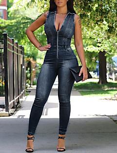 Feminino Simples Vintage Sensual Cintura Alta Informal Bandagem Férias Macacão,Skinny Cor Única Ganga Primavera Verão
