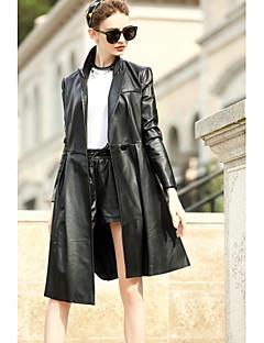 Damen Solide Einfach Lässig/Alltäglich Mantel,Hemdkragen Herbst Lange Ärmel Standard Baumwolle