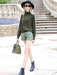 Damer Simpel I-byen-tøj Afslappet/Hverdag Normal Pullover Ensfarvet,Rullekrave Langærmet Polyester Andet Efterår Vinter Medium