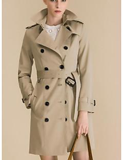 여성 솔리드 피크트 라펠 긴 소매 트렌치 코트,단순한 데이트 캐쥬얼/데일리 긴 면 봄 가을