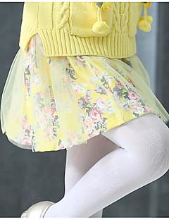 女の子 ゼブラプリント フラワー 刺繍 ポリエステル スパンデックス スカート 夏