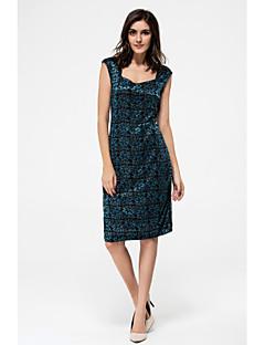 여성 A 라인 드레스 캐쥬얼/데일리 정교한 디테일 솔리드,라운드 넥 무릎 위 민소매 그외 사계절 중간 밑위 약간의 신축성 중간