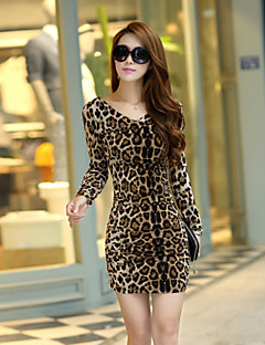 Women's Going out Casual/Daily Work Sexy Cute Bodycon Dress,Leopard V Neck Mini Long Sleeve Polyester Summer Fall Mid Rise Micro-elastic