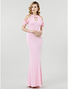 Sheath / Column Jewel Neck Floor Length Jersey Formal Evening Dress with Pleats by TS Couture®