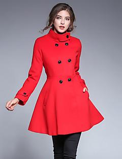 Szabadság Alkalmi Casual/hétköznapi Vintage Utcai sikk Ízléses Állógallér-Női Kabát,Egyszínű Ősz Tél Hosszú ujjú Szokványos Poliészter