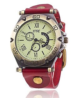 Herrn Modeuhr Armband-Uhr Einzigartige kreative Uhr Armbanduhren für den Alltag Chinesisch Quartz Leder Band Vintage Bequem Elegante
