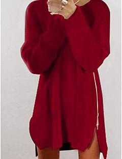Normal Pullover Fritid/hverdag Dame,Ensfarget Rund hals Langermet Kashmir Høst Vinter Medium Mikroelastisk