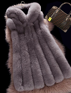 レディース カジュアル/普段着 冬 ベスト,シンプル フード付き ソリッド ロング フォックスファー ノースリーブ