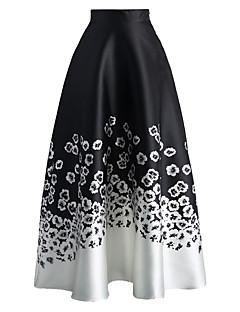 Women's Monochrome Floral Print High Waist Maxi Skirt