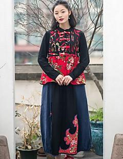 Kadın Günlük/Sade Maxi Etekler A Şekilli Salıncak Solid Çiçekli Desen Yaz