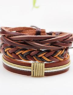 Homme Femme Bracelets Bracelets en cuir Style Punk Ajustable Personnalisé Pierre Multivoies Porter Cuir Forme de Ligne Bijoux Pour