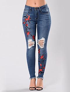 Damen Sexy Street Schick Hohe Hüfthöhe Mikro-elastisch Jeans Skinny Hose,Ripped Stickerei