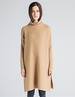 Normal Pullover Fritid/hverdag Enkel Dame,Ensfarget Rullekrage Langermet Ull Bomull Polyester Høst Vinter Tykk Mikroelastisk