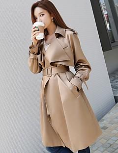 여성 솔리드 셔츠 카라 긴 소매 트렌치 코트,단순한 빈티지 활동적 홀리데이 데이트 캐쥬얼/데일리 작동 긴 폴리에스테르 봄 가을