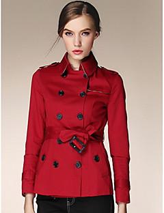 여성 솔리드 셔츠 카라 ¾ 소매 트렌치 코트,단순한 캐쥬얼/데일리 짧은 폴리에스테르 가을