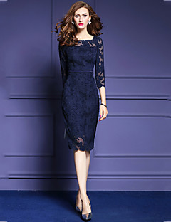Women's Going out Casual/Daily Plus Size Street chic Lace Dress,Solid Square Neck Midi 3/4 Length Sleeves Polyester Fall Mid Rise