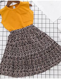 Tyttöjen Yhtenäinen Sarjat Puuvilla Polyesteri Kesä Hihaton Vaatesetti