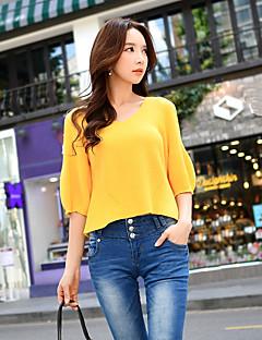 Damen Standard Pullover-Arbeit Festtage Ausgehen Lässig/Alltäglich Retro Einfach Anspruchsvoll Solide Rundhalsausschnitt 3/4 Ärmel