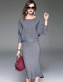 Damen Solide Einfach Street Schick Anspruchsvoll Ausgehen Lässig/Alltäglich T-Shirt-Ärmel Rock Anzüge,Rundhalsausschnitt Herbst Winter¾