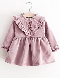 bebê Vestido Cor Única Algodão-Primavera/Outono
